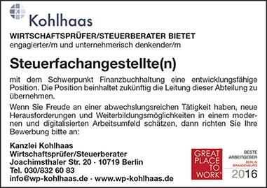 Stellenanzeige-Kanzlei Kohlhaas - Steuerfachangestellte