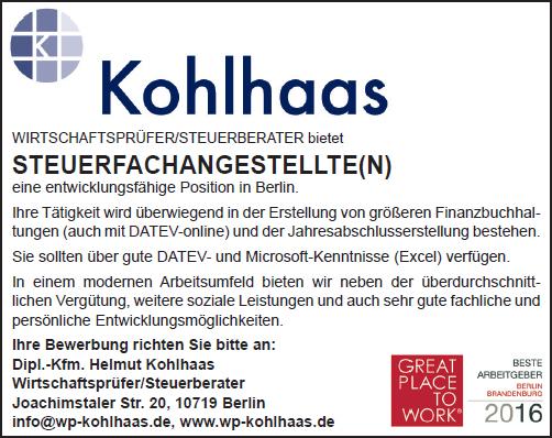 Stellenangebote Steuerfachangestellte/r Berlin